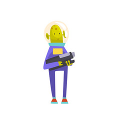 Funny green alien with blaster funny humanoid vector