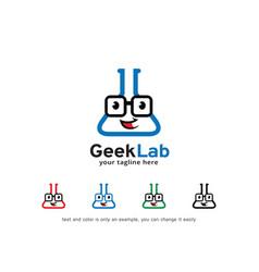 Geek lab logo template design vector