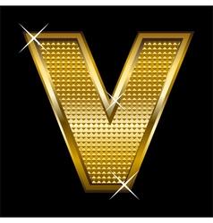 Golden font type letter V vector image