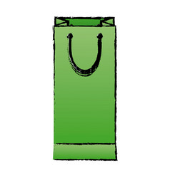 Green paper shopping bag handle package icon vector