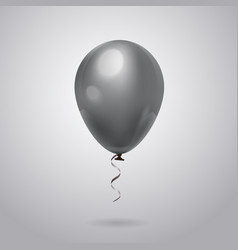 Grey balloon with ribbon isolated on background vector