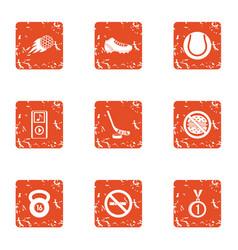 Guerdon icons set grunge style vector
