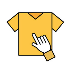 Hand click tshirt online shopping concept vector