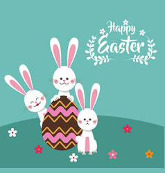 Happy easter bunnies chocolate egg floral vector