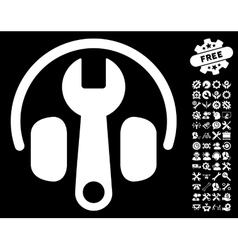 Headphones tuning wrench icon with tools vector