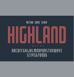 highland condensed inline retro typeface vector image