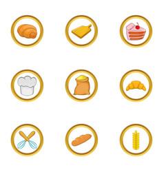 Home bakery icon set cartoon style vector