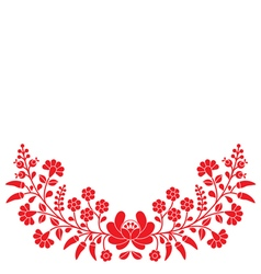 Hungarian red floral folk pattern - Kalocsai vector image
