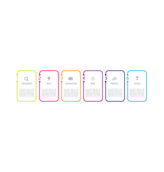 Infographic thin line design with icons and 6 vector