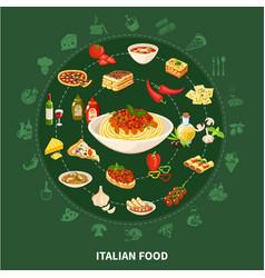 italian cuisine round set vector image
