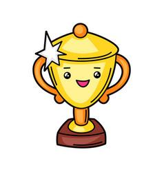 Kawaii gold trophy cup vector