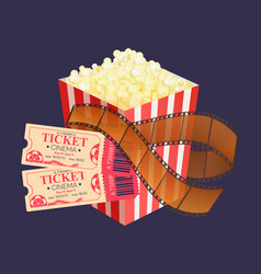 Kettle corn and coupons cinema roll film vector