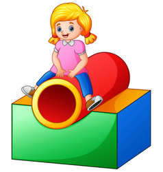 little girl on the playground tunnel vector image