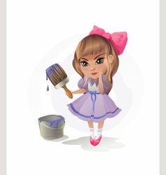 Little Girl with Paintbrush vector