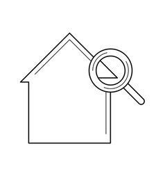 magnifying glass and house line icon vector image