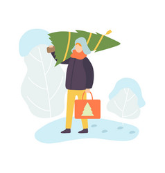 man wearing warm winter clothes carrying christmas vector image