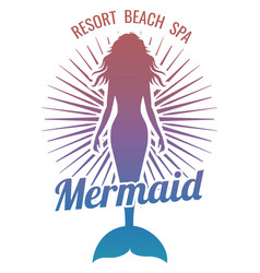 mermaid silhouette stylized logo vector image