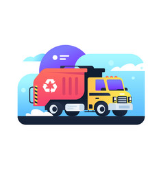 Modern garbage collection in city in garbage truck vector