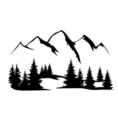 Mountains and forest silhouette vector