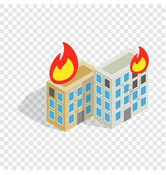multistory houses burn modern war isometric icon vector image