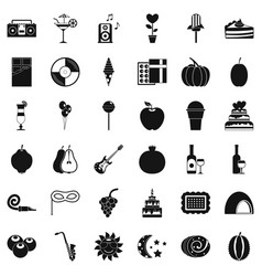 Music party icons set simple style vector