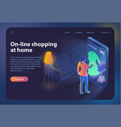Online shopping at home isometric web banner vector