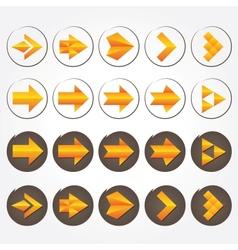Orange volumetric arrows Icon set vector image