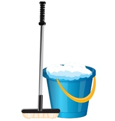 Pail and mop vector