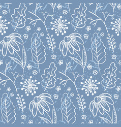 pale blue pattern with outline leaves and branches vector image