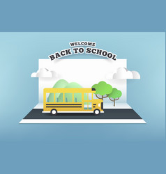 paper card of school bus running on the road vector image