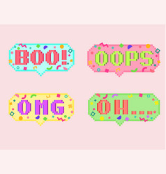 pixel art 8bit set of sticker vector image
