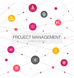 Project management trendy web template with simple vector
