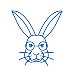 rabbit head line icon concept rabbit head flat vector image