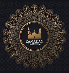 Ramadan kareem with mosque and islamic art vector