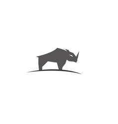 rhinoceros or rhino standing plateau logo vector image