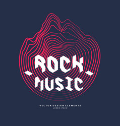 rock music poster of the sound wave vector image