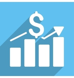 Sales Bar Chart Long Shadow Square Icon vector