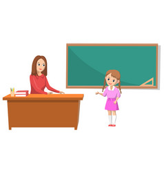 School teacher and pupil answering question vector