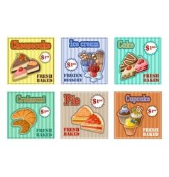 Set of baking menu card vector