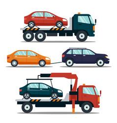 Set of cars evacuating broken or damaged auto vector