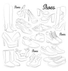 Set of different shoes vector image