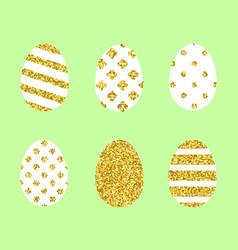 Set of golden easter eggs vector