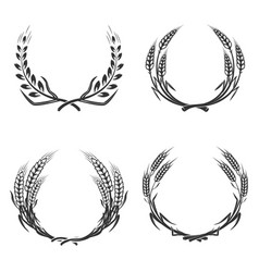 set of wreaths isolated on white background vector image