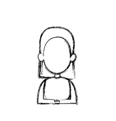 Silhouette drawing of faceless half body woman vector