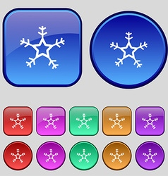 snow icon sign A set of twelve vintage buttons for vector image