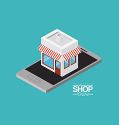 Store with striped sunshade red and white over vector