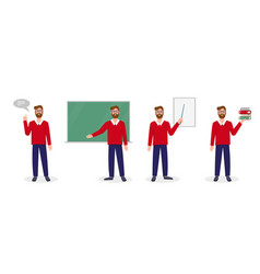 Teacher lecturer or professor in different poses vector