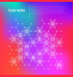 Teamwork concept in honeycombs vector