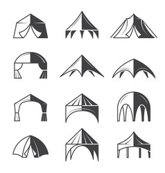 Tent silhouettes outdoor party event buildings vector