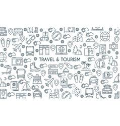 Thin line design travel banner vector